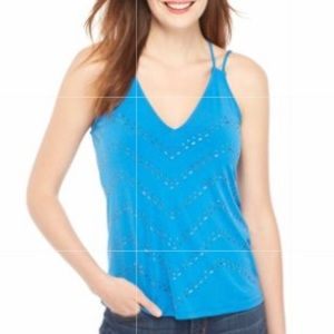 THE LIMITED Strap V-Neck Heat Seal Tank